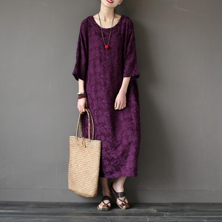 Beautiful back open cotton spring Tunics Inspiration purple Traveling Dresses