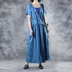 Beautiful blue cotton Tunic v neck embroidery loose summer Dresses
