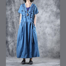 Load image into Gallery viewer, Beautiful blue cotton Tunic v neck embroidery loose summer Dresses