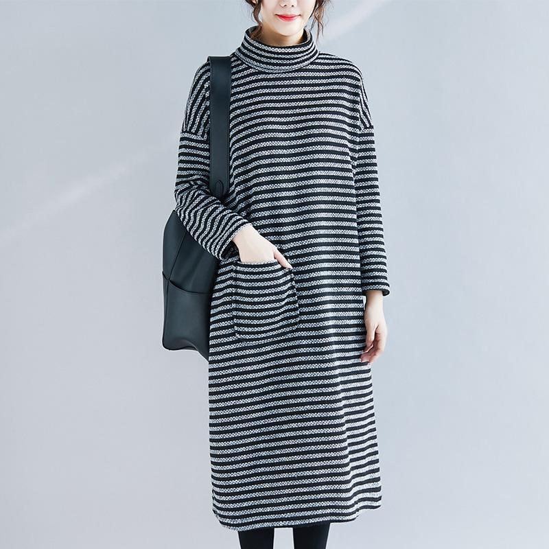 Beautiful cotton quilting clothes top quality Outfits black striped A Line Dresses autumn