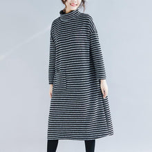Load image into Gallery viewer, Beautiful cotton quilting clothes top quality Outfits black striped A Line Dresses autumn