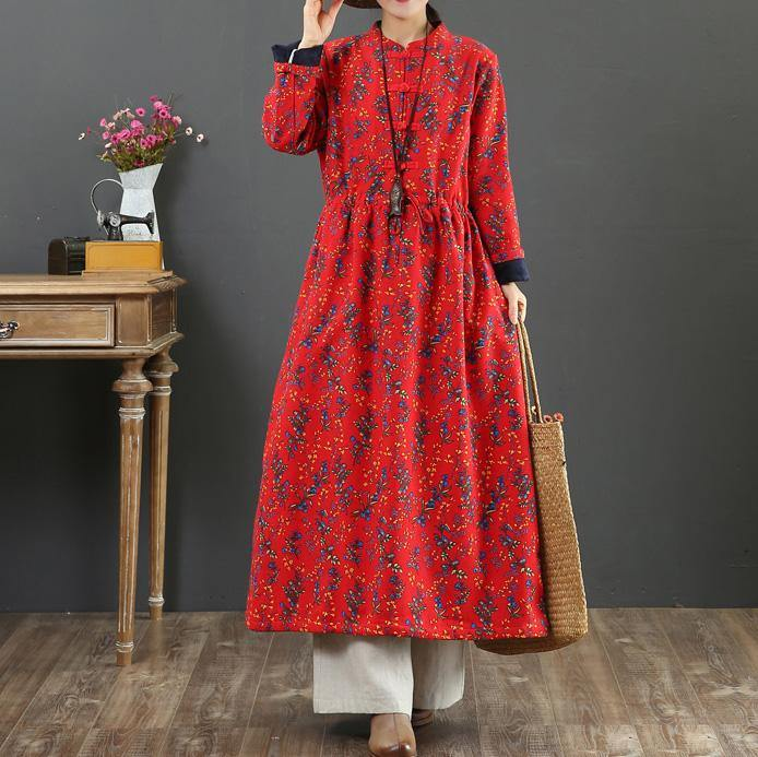 Beautiful drawstring cotton stand collar dress Shape red prints Dress