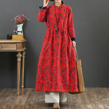 Load image into Gallery viewer, Beautiful drawstring cotton stand collar dress Shape red prints Dress