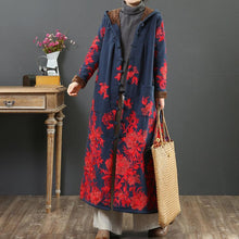 Load image into Gallery viewer, Beautiful embroidery Fine hooded outwear navy warm daily jackets