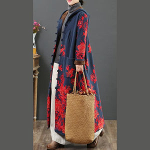 Beautiful embroidery Fine hooded outwear navy warm daily jackets