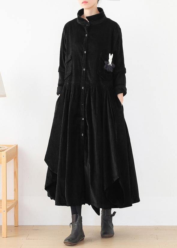 Beautiful false two pieces top quality polo collar coats women black loose outwears