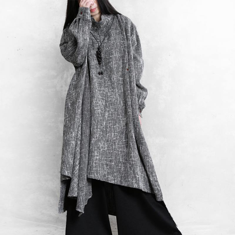 Beautiful high neck asymmetric linen clothes Fashion Ideas gray Plaid Dresses