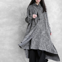 Load image into Gallery viewer, Beautiful high neck asymmetric linen clothes Fashion Ideas gray Plaid Dresses