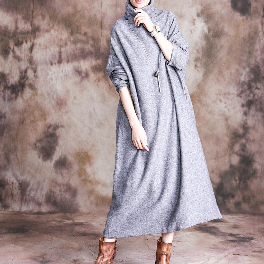 Beautiful high neck cotton long sleeve tunic dress Inspiration gray Maxi Dresses
