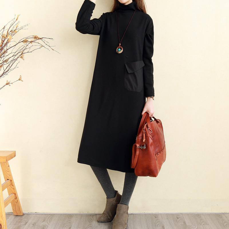 Beautiful high neck pockets cotton tunics for women Indian Runway black Plus Size Dress