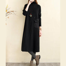 Laden Sie das Bild in den Galerie-Viewer, Beautiful high neck pockets cotton tunics for women Indian Runway black Plus Size Dress
