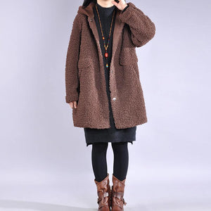 Beautiful hooded Fashion winter tunic coats chocolate Plus Size Clothing women coats