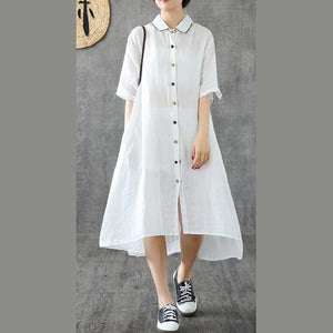 Beautiful lapel Button Down linen dresses Shape white Dresses