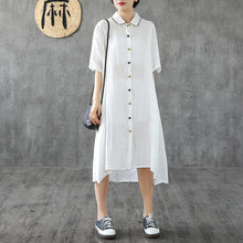 Load image into Gallery viewer, Beautiful lapel Button Down linen dresses Shape white Dresses