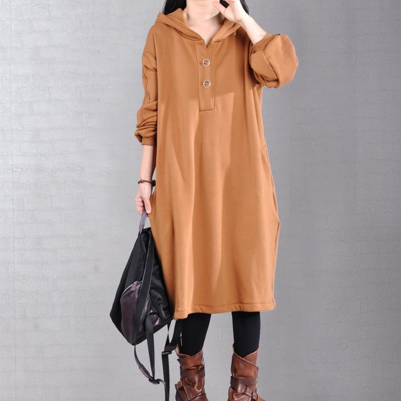 Beautiful long sleeve cotton hooded Tunics Outfits khaki long Dresses
