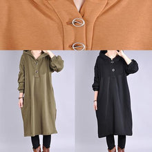 Load image into Gallery viewer, Beautiful long sleeve cotton hooded Tunics Outfits khaki long Dresses