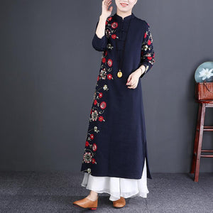 Beautiful navy linen dresses Organic Neckline stand collar embroidery long Dress