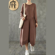 Load image into Gallery viewer, Beautiful o neck asymmetric cotton quilting dresses Tunic Tops chocolate cotton robes Dress