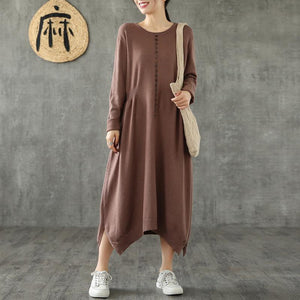 Beautiful o neck asymmetric cotton quilting dresses Tunic Tops chocolate cotton robes Dress