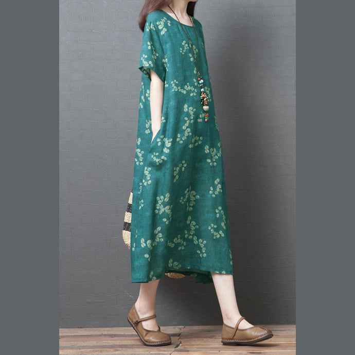 Beautiful o neck pockets linen Robes Fashion Ideas blue print Dress summer