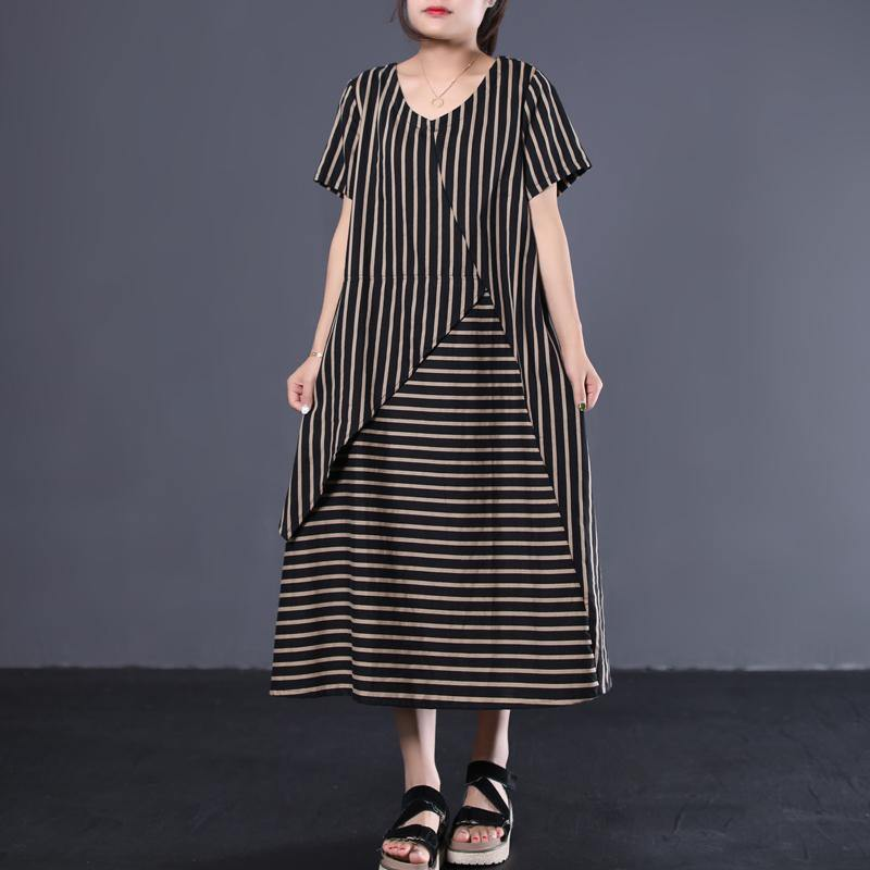 Beautiful patchwork cotton clothes Women Shape black striped Traveling Dress summer