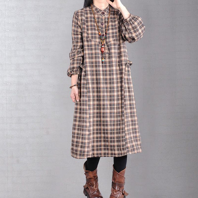 Beautiful patchwork cotton dresses pattern chocolate plaid Art Dresses