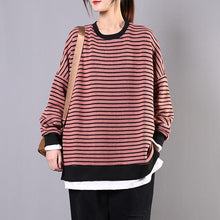 Load image into Gallery viewer, Beautiful pink striped cotton clothes For Women o neck patchwork Vestidos De Lino shirts