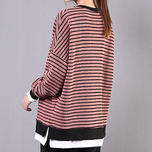 Beautiful pink striped cotton clothes For Women o neck patchwork Vestidos De Lino shirts