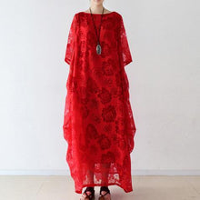 Load image into Gallery viewer, Beautiful red chiffon clothes For Women Fine Tutorials o neck asymmetric Maxi Dresses