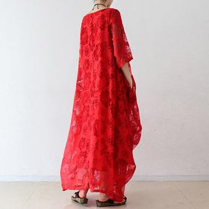 Beautiful red chiffon clothes For Women Fine Tutorials o neck asymmetric Maxi Dresses