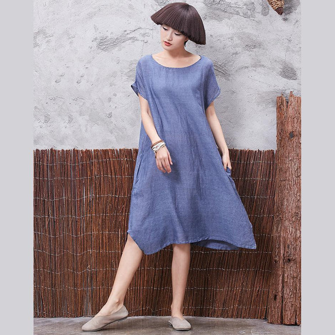 Beautiful side open  cotton Long Shirts Wardrobes blue o neck Dresses summer
