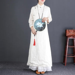 Beautiful stand collar Button Down silk linen dress Korea Work white Maxi Dresses