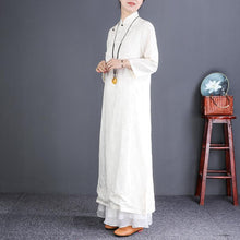 Laden Sie das Bild in den Galerie-Viewer, Beautiful stand collar Button Down silk linen dress Korea Work white Maxi Dresses