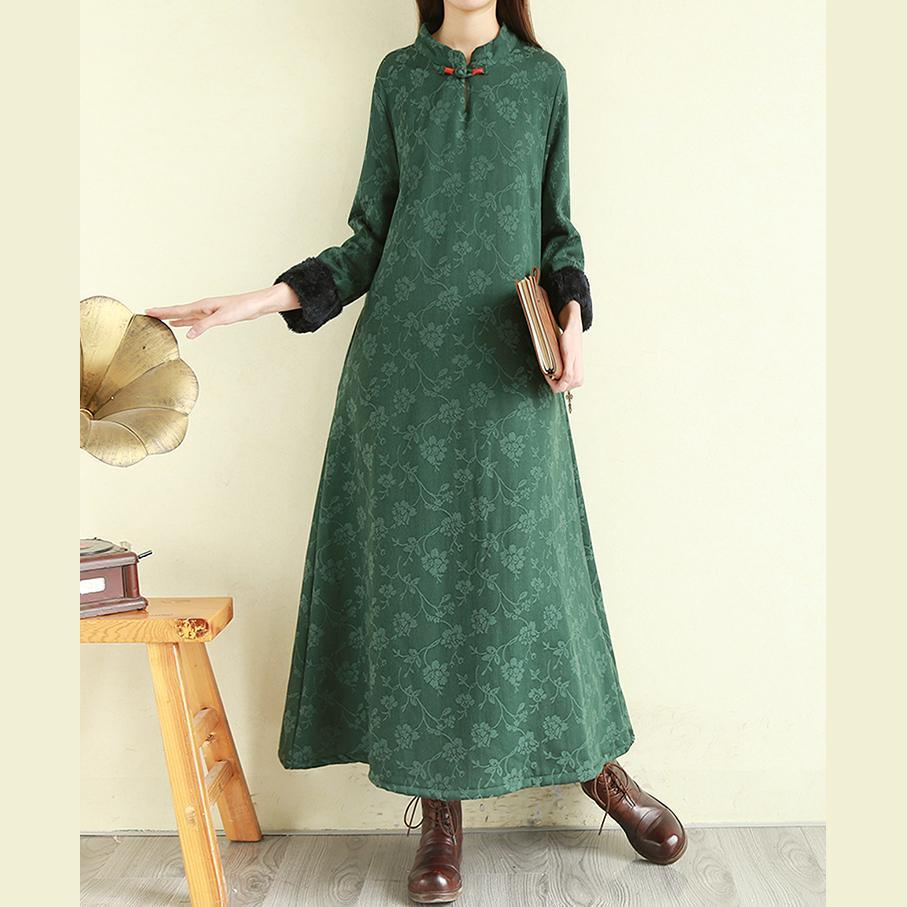 Beautiful stand collar linen winter Robes Runway green Dress