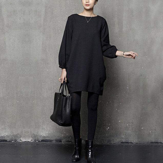 Beautiful wrinkled Cotton fall design black Dresses