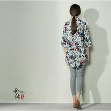 Load image into Gallery viewer, Beige floral summer shirt women blouse cotton top oversize