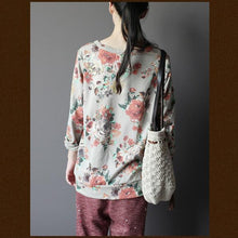 Load image into Gallery viewer, Beige floral top women cotton shirt
