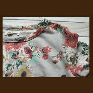 Beige floral top women cotton shirt