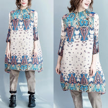 Load image into Gallery viewer, Beige oversize cotton dress engineered print shirt dresses long blouse maternity dress
