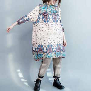 Beige oversize cotton dress engineered print shirt dresses long blouse maternity dress