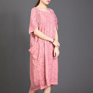 Big Pockets Jacquard Short Sleeve Loose Dress