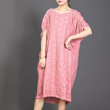 Load image into Gallery viewer, Big Pockets Jacquard Short Sleeve Loose Dress