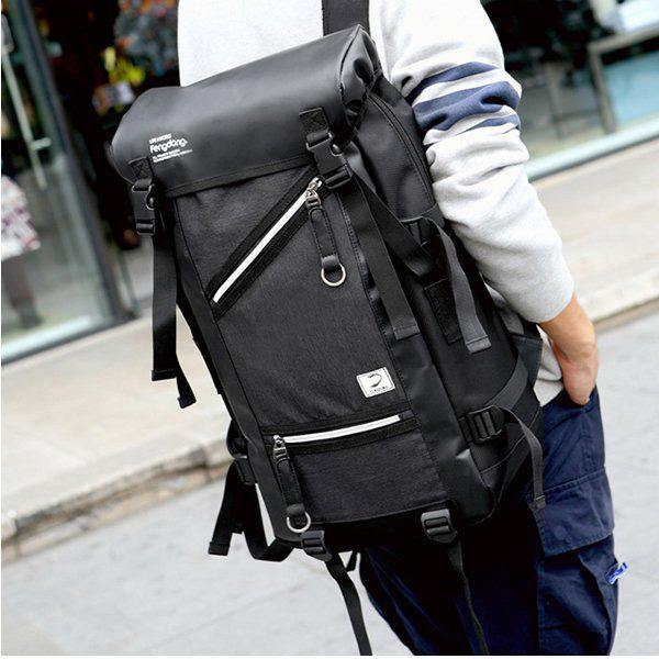 Black Oxford Large Capacity Waterproof Backpack Outdoor Mountain Climbing Bag For Men