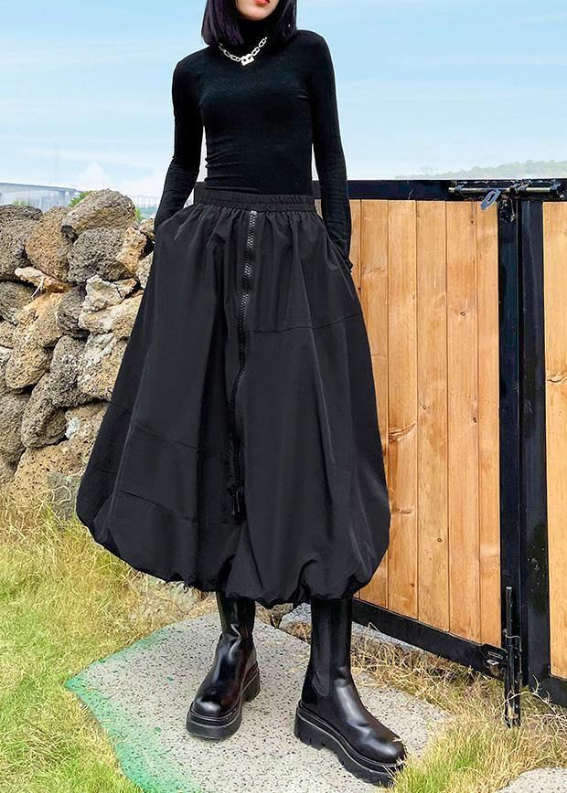 Black Skirt Women's High Waist Medium Length A-line Pompous Skirt
