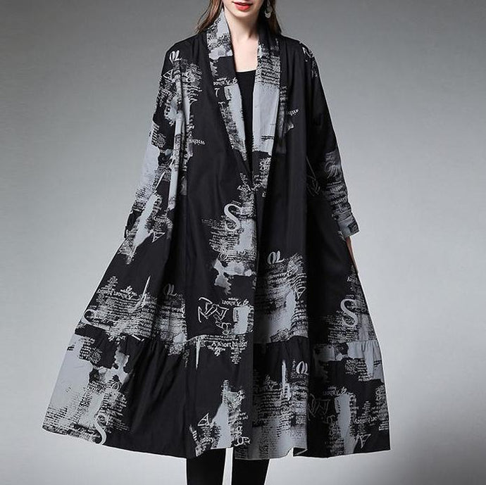 Black Women Print Cotton Loose Long Sleeve Plus Size Coat