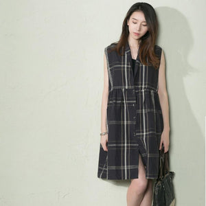 Black Grid linen sundress tank summer dress oversize shift dresses-will be available soon