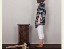 Laden Sie das Bild in den Galerie-Viewer, Black Retro print linen sundress cotton summer dress little stones