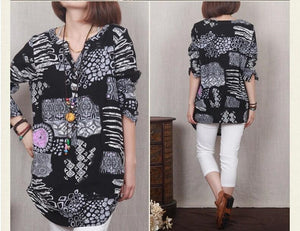Black Retro print linen sundress cotton summer dress little stones