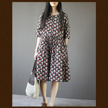 Load image into Gallery viewer, Black cherry print retro summer dresses plus size sundresses half sleeve