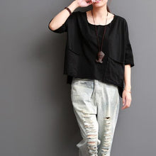 Load image into Gallery viewer, Black cotton blouse causal women top